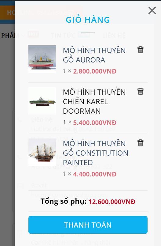 xem giỏ hàng mô hình thuyền và thanh toán