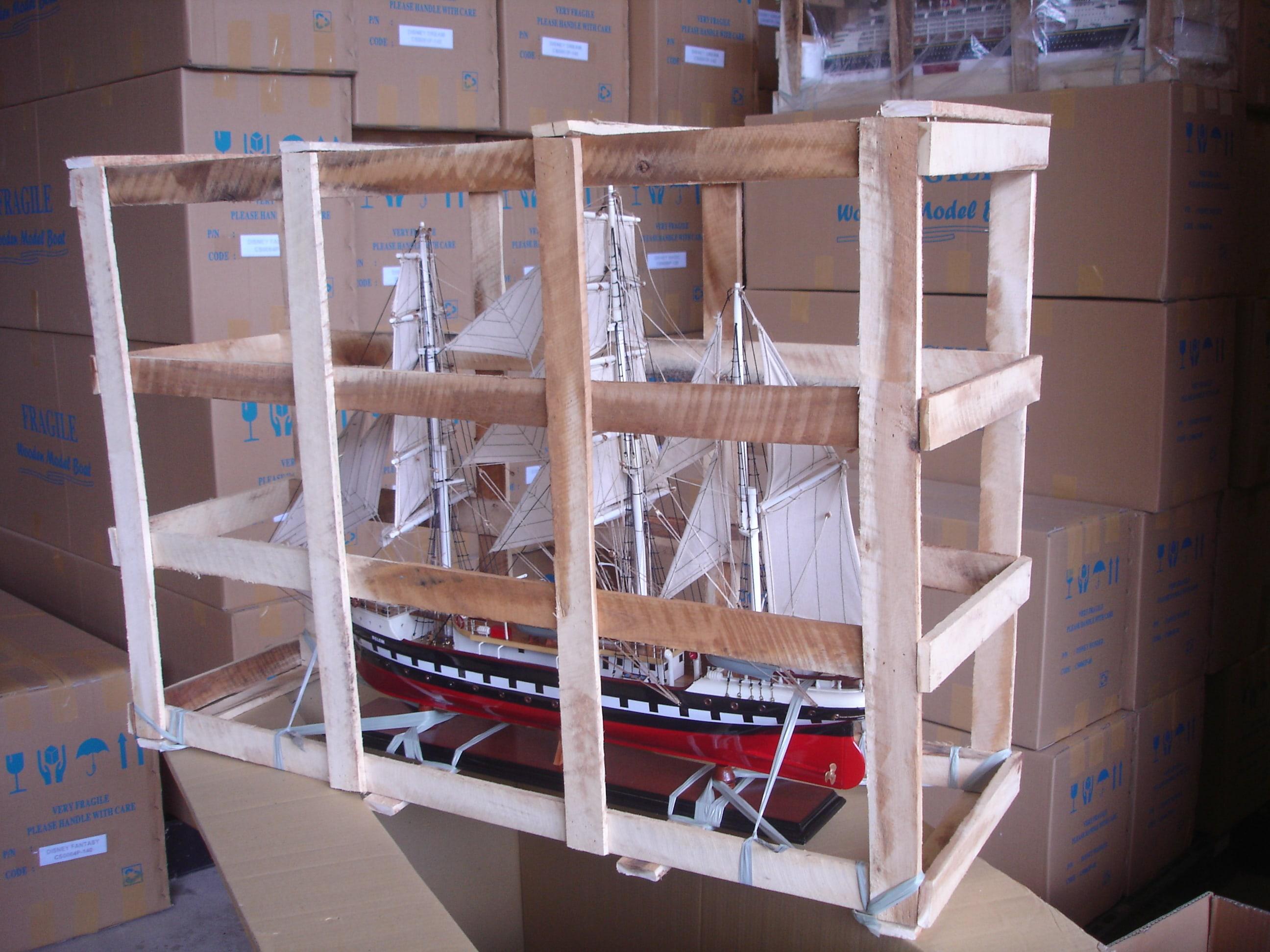 quy trình đóng gói mô hình thuyền